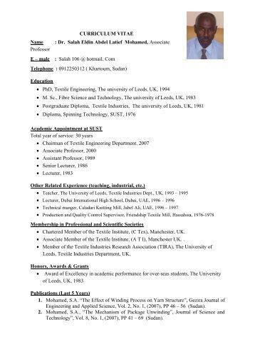 CURRICULUM VITAE Name : Dr. Salah Eldin Abdel Latief - Sudan ...