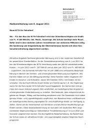 Medienmitteilung vom 8. August 2011 - Gemeinde Fehraltorf