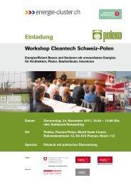 Einladung Workshop Cleantech Schweiz-Polen
