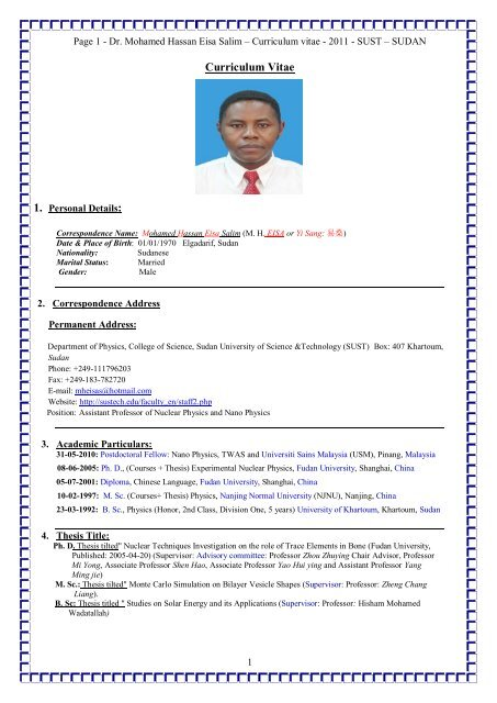 Curriculum Vitae Sudan University Of Science And Technology