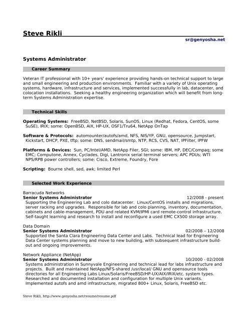 pdf - Resumes for Steve Rikli Unix/BSD/Linux/Solaris Systems