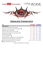 Preisliste Tuningparts - Garage Frey