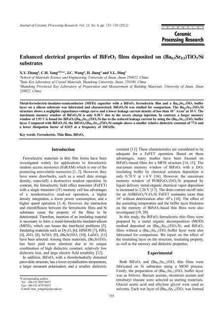 Enhanced electrical properties of BiFeO3 films deposited on