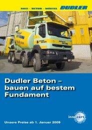 Dudler Beton – bauen auf bestem Fundament - Rudolf Dudler AG