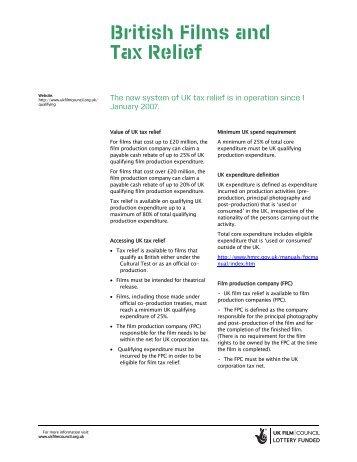 British Films and Tax Relief - Raindance Film Festival
