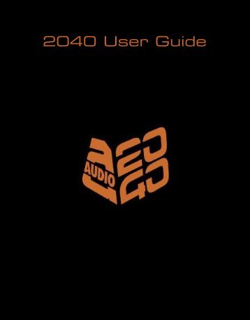Audio 2040 User Guide - Richmond Film Services