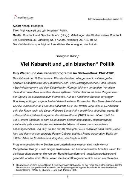 """Viel Kabarett und """"ein bisschen"""" Politik - Mediaculture online"""
