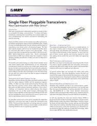 Single Fiber Pluggable Transceivers — PDF - MRV Communications