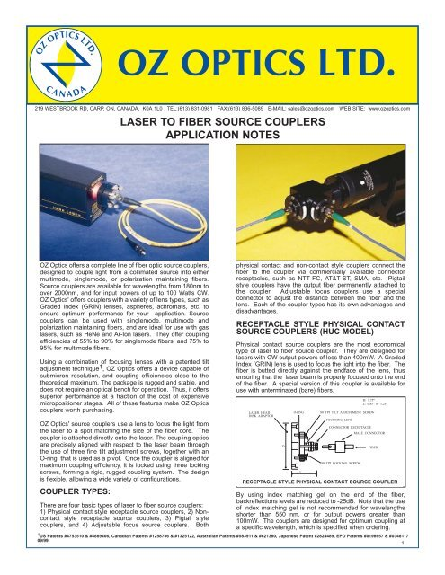 Laser to Fiber Source Couplers - Application Note - OZ Optics