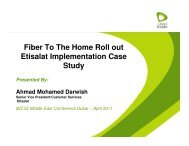 Fiber To The Home Roll out Etisalat Implementation Case Study - Bicsi