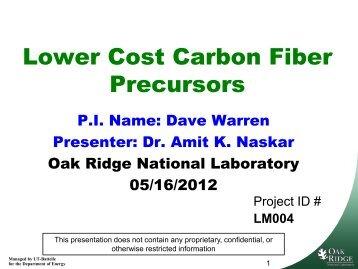 Lower Cost Carbon Fiber Precursors - EERE