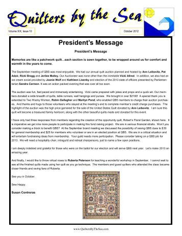 October 2012 Newsletter - Quilters by the Sea