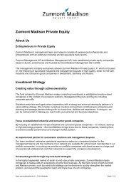 Zurmont Madison Private Equity - Zurmont Madison Management AG