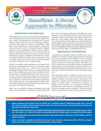 eSpin Technologies - US Environmental Protection Agency