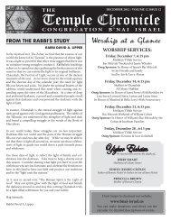 December 2012 - Temple B'nai Israel