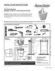 INSTALLATION INSTRUCTIONS - American Standard ProSite