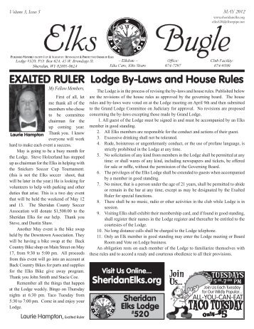 Bugle Newsletter & Monthly Calendar (pdf file) - Elks Lodge 520 ...