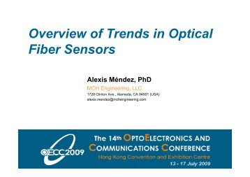 MWB4 • Overview of Trends in Optical Fiber Sensors - OECC 2009