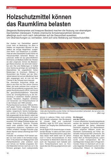 Holzschutzmittel können das Raumklima belasten