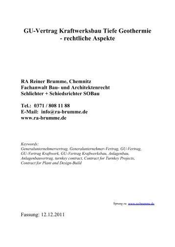 Tiefbohrvertrag Geothermie Gestaltung Reiner Brumme