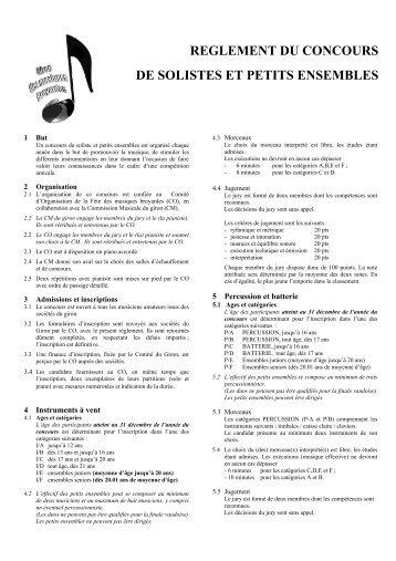 REGLEMENT DU CONCOURS DE SOLISTES ... - Garage de l'Aviation