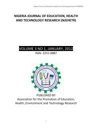 VOLUME 3 NO 1, JANUARY, 2012 - Welcome