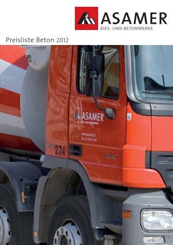 Preisliste Beton 2012 - Asamer