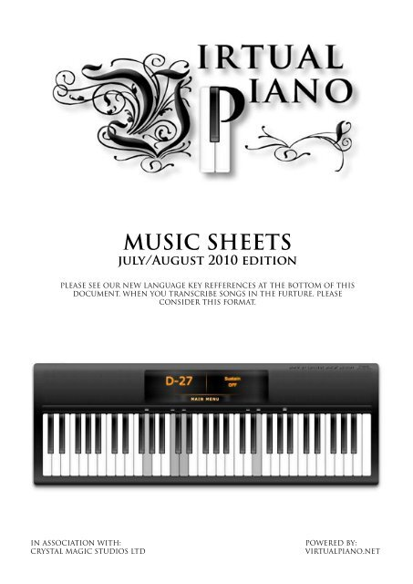 Virtual Piano Music Sheets - July/August 2010 Edition - EklaBlog