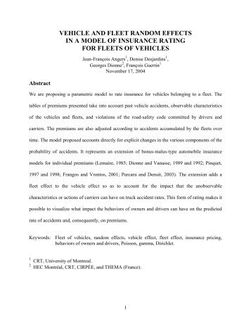 Vehicle and fleet random effects in a Bayesian - American Risk and ...