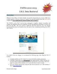 FAFSA 2012-2013 I.R.S. Data Retrieval - Philander Smith College