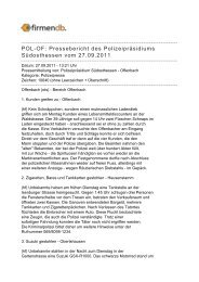POL-OF: Pressebericht des Polizeipräsidiums ... - Firmendb