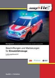 Beschriftungen und Markierungen für Einsatzfahrzeuge - Design112