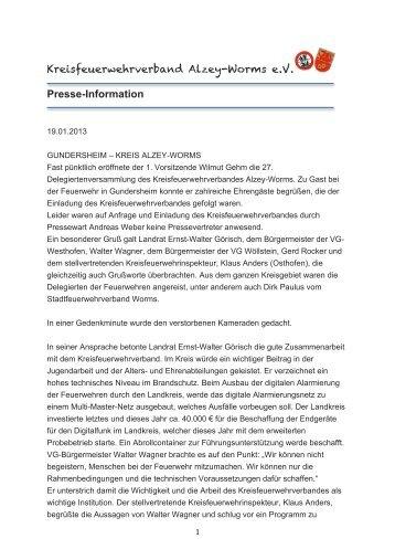 Presse-Information - Kreisfeuerwehrverband Alzey-Worms