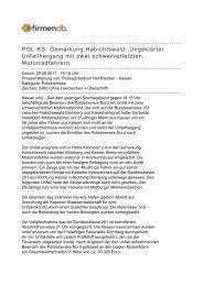 POL-KS: Gemarkung Habichtswald: Ungeklärter ... - Firmendb