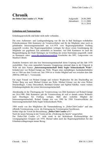 Chronik vom Verein - Delta Club Condor eV Wehr