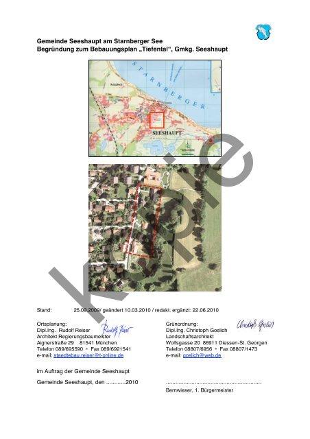 Gemeinde Seeshaupt Am Starnberger See Begründung Zum