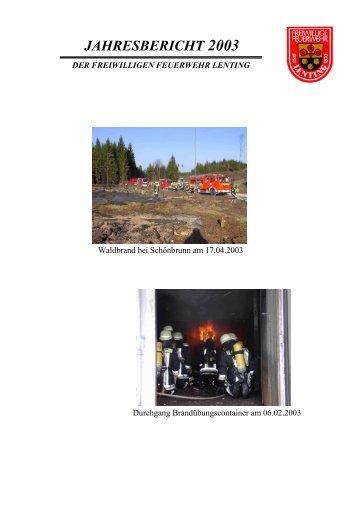 Jahresbericht 2003 - Feuerwehr Lenting