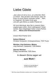 ROTWEINE im Offenausschank - Gasthaus Waldheim