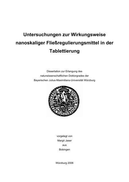 Untersuchungen zur Wirkungsweise nanoskaliger - OPUS ...