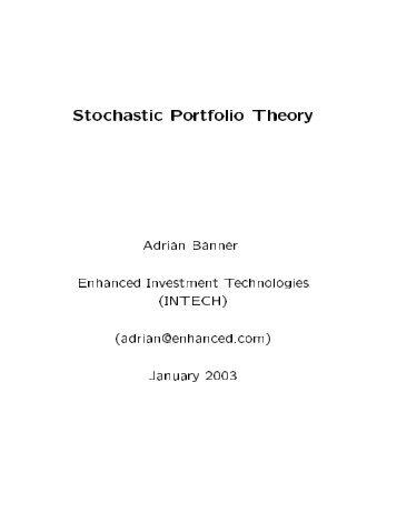 Stochastic Portfolio Theory Adrian Banner ... - Q Group Australia