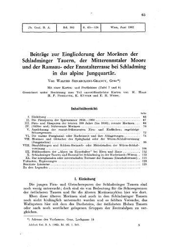 Beiträge zur Eingliederung der Moränen der Schladminger Tauern ...