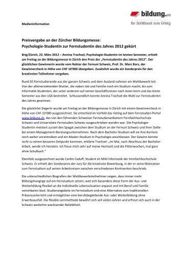 Fernstudent des Jahres 2012 - Fernstudien Schweiz