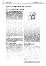 WORLD CONFERENCE ON ARTS EDUCATION Bericht von der Konferenz in ...