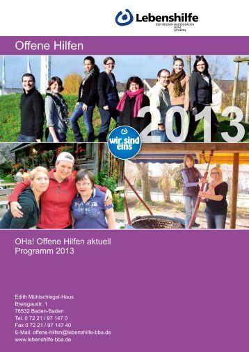Jahresprogramm 2013 - Lebenshilfe Bühl eV