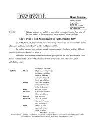 SIUE Dean's List Announced For Fall 2011 Southern Illinois
