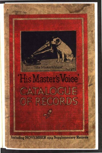 His Master's Voice General Catalogue 1914 - British Library - Sounds