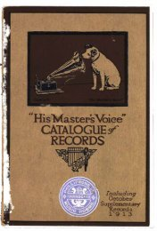 His Master's Voice Catalogue of Records, 1913 - British Library ...
