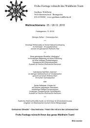 Weihnachtsmenu - Gasthaus Waldheim, Hermetschwil