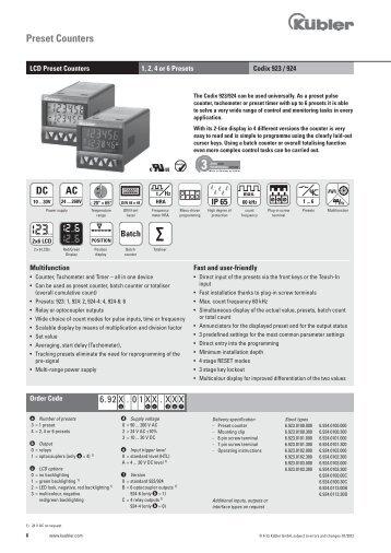 Data sheet - Fritz Kübler GmbH Zähl- und Sensortechnik