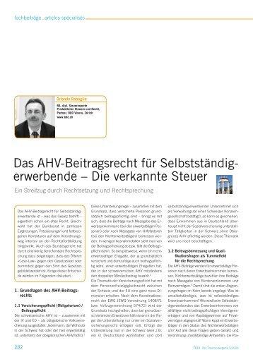 Das AHV-Beitragsrecht für Selbstständig- erwerbende – Die ...